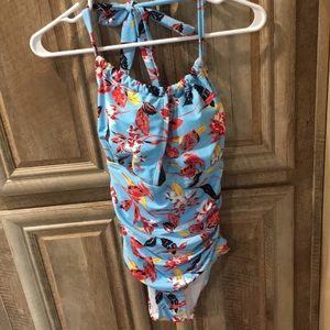 New Without Tags Light Blue Color Floral Swimsuit